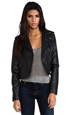 Hideout Moto Jacket with Faux Fur en Noir