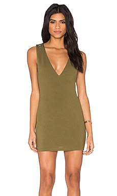 Plunge Stud Dress in Khaki