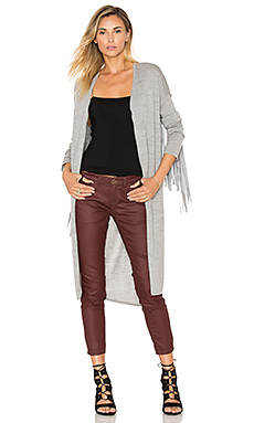 The Sloan Fringe Cardigan in Grey Marle