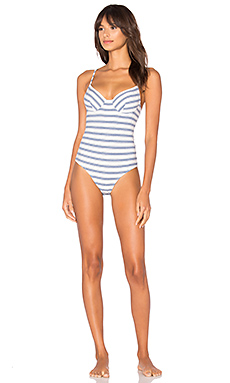 Recycled Stripe Underwire Bodysuit en Blu Stripe