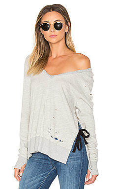 V-Neck Side Slit Sweatshirt en Gris Chiné