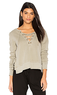 Side Slit Lace Up Sweatshirt en Sage