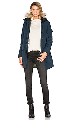 Hoosac Hooded Down Parka with Faux Fur Hood in Navy