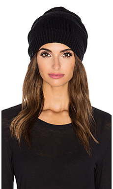Fleece Lined Pom Pom Beanie in Black & Heather Grey
