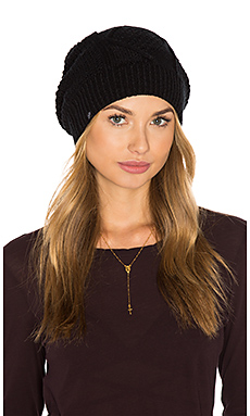 Diamond Cable Knit Beanie in Black