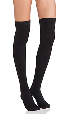 Thigh High Fleece Lined Leggings en Noir