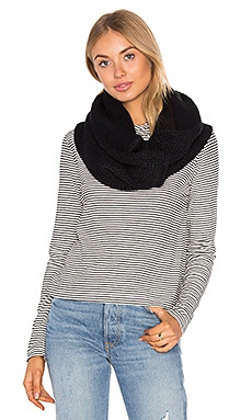 Fleece Lined Chunky Knit Scarf en Noir