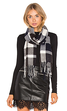 Ultra Soft Fleece Plaid Scarf – Navy, Charcoal & White