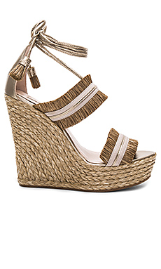 Ankle Tie Wedge – Raffia Taupe