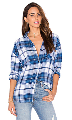 Jackson Flannel Button Down – White & Admirial