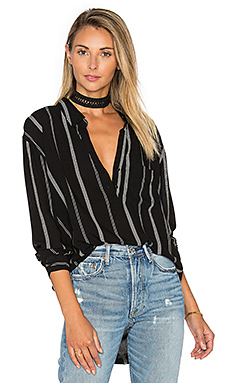 Elle Button Down en Black & Mocha Stripe