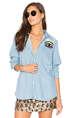 Cleopatra Button Up in Distressed Wash Patch