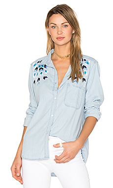 Brett Embroidery Button Up in Geo Embroidered