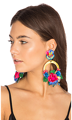Flower Hoop Earring – 黄色 & 蓝色