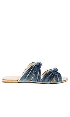 x REVOLVE Naomi Slide in Dusty Blue Velvet