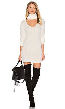 Cut It Out Sweater Dress in White