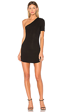X REVOLVE Lyle One Shoulder Dress in Noir