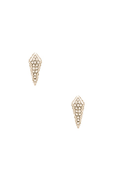 Pave Spike Stud Earring in Rhodium & Crystal