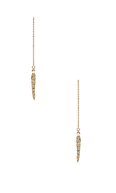 Feather Threader Earring en Antique Gold & Pearl