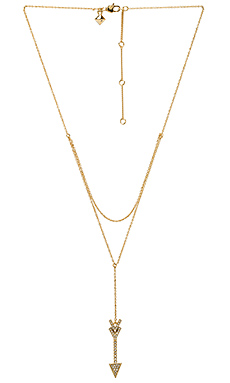 Arrow Layered Y Necklace en Or & Cristal