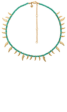 Tiki Beaded Spike Necklace en Turquoise & Couleur Or