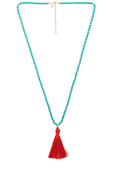 Bali Beaded Tassel Necklace en Turquoise & Red