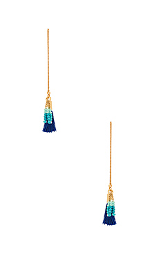 Threader Earring With Tassels in Gold & Navy