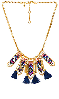 Catalina Statement Bib Necklace en Gold & Blue Multi