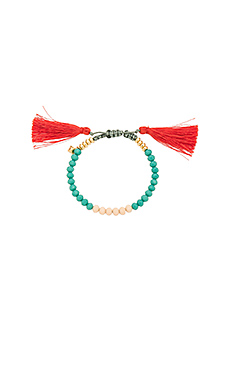 Tropics Tassel Bracelet en Turquoise & Indian Red