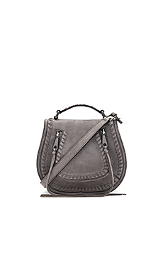 Small Vanity Saddle Bag in Grey Denim