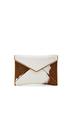 Leo Calf Hair Clutch in Sand