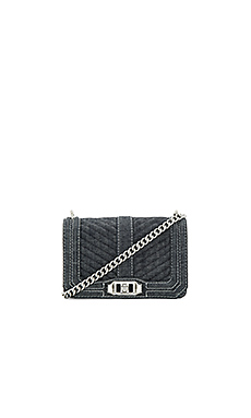Chevron Quilted Small Love Bag in Dark Denim