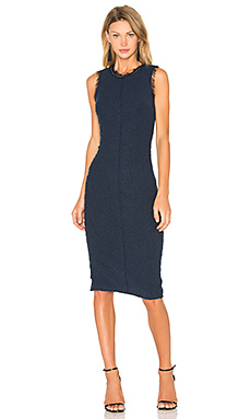 Sleeveless Boucle Shift Dress in Navy