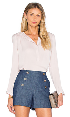 Long Sleeve Double Georgette Top in Sheer Pink