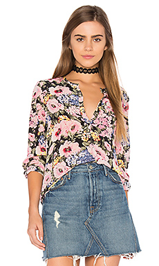 Long Sleeve Lavinia Rose Top en Black & Camellia