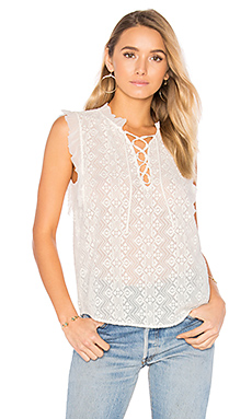 Sleeveless Florence Embroidered Top en Craie