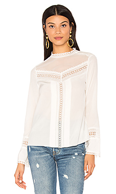 Long Sleeve Lace Silk Top en Craie