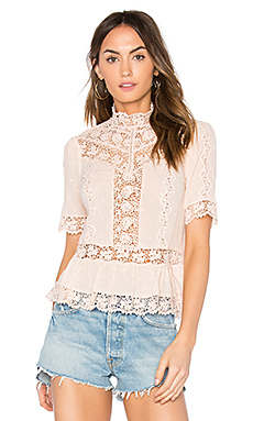 Eyelet Mock Neck Top en Ballerines