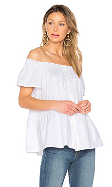 Off The Shoulder Button Up Top en Blanc