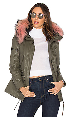 Mini Hudson Parka with Asiatic Raccoon Fur – Army & Light Pink