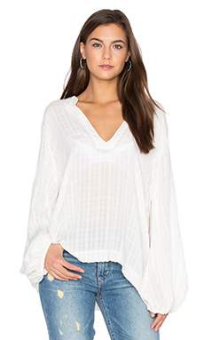 Olivia Top en Pearled Ivory Fiji Plaid
