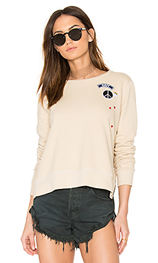 Zip Crew Neck Patch Sweatshirt en kaki