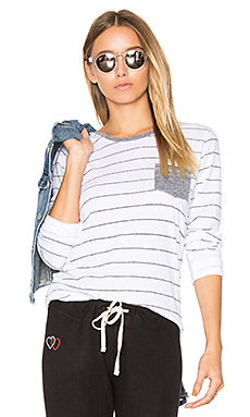 Stripes Slub Tee with Pocket en Blanc