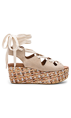 Lace Up Platform Sandal en Beige