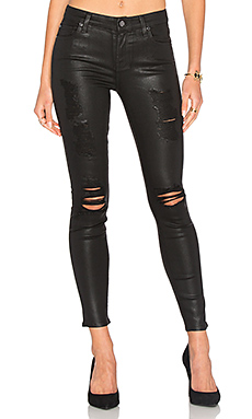 The Ankle Distressed Skinny in Coated Fashion