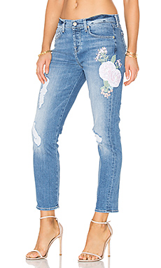 Josefina Embroidered Boyfriend in Denim Embroidered Botanical