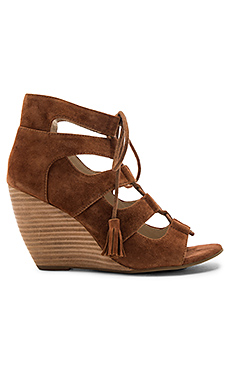 Delirious Wedge in Cognac Suede