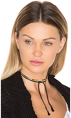 Zuri Choker in Yellow Gold & Black