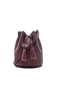 Greta Medium Bucket Bag in Pebbled Red Burgundy