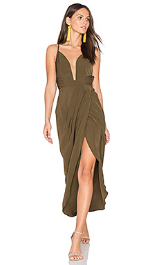 Leticia Plunged Wire Draped Maxi Dress in Khaki